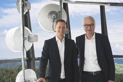 Der bisherige und der neue CEO von Swisscom Broadcast: Dominik Müller (li.) tritt die Nachfolge von Jean de Weck an (Foto: Swisscom)
